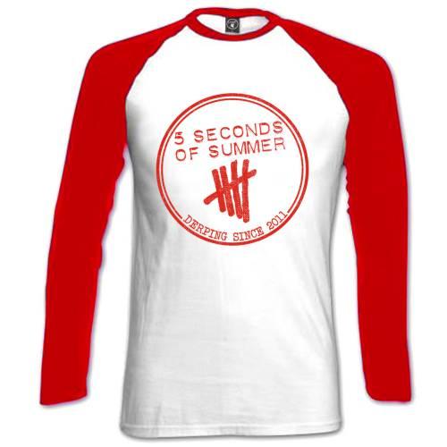 5 Seconds of Summer Ladies Raglan T-Shirt: Derping Stamp - 5 Seconds of Summer - Merchandise - Unlicensed - 5055295387850 -