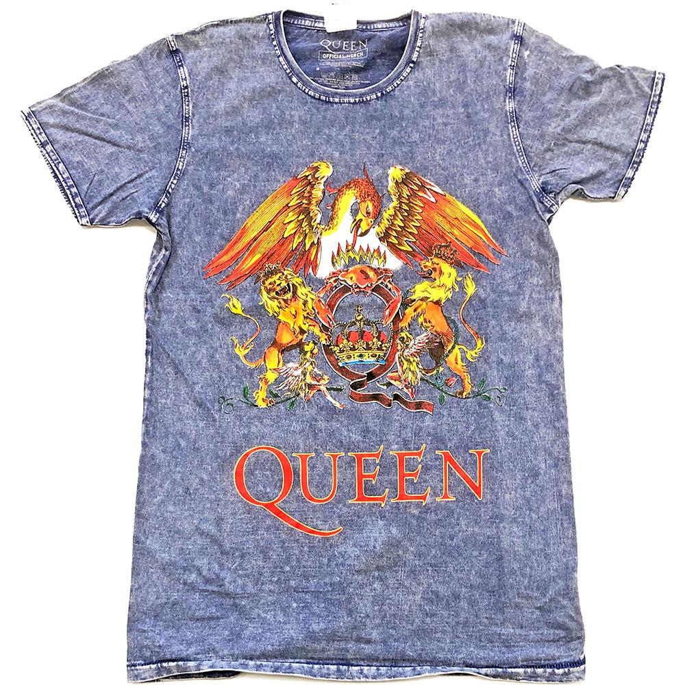 Queen Unisex Tee: Classic Crest (Burn Out) - Queen - Merchandise -  - 5056368605253 -