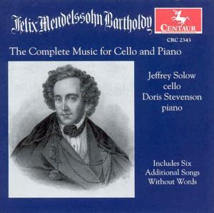 Complete Works for Cello & Piano - Mendelssohn / Solow / Stevenson - Musik - CENTA - 0044747234328 - 12/8-2000