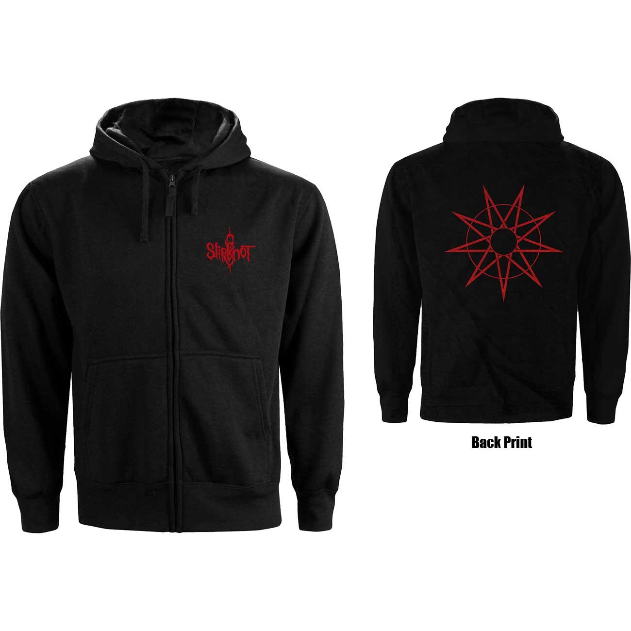 Slipknot Unisex Zipped Hoodie 9 Point Star Back Print