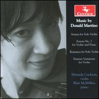 Sonata for Solo Violin / Sonata No. 2 for Violin - Martino / Cuckson / Mcmillen - Musik - Centaur - 0044747295527 - 28/10-2008