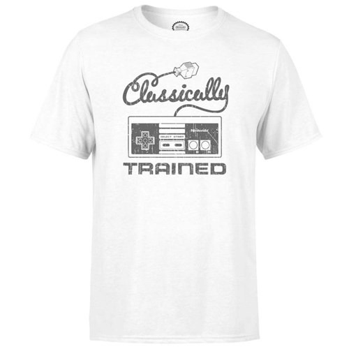 Nintendo Retro NES Classically Trained Mens White TShirt LARGE Clothing -  - Merchandise -  - 5060452681641 -