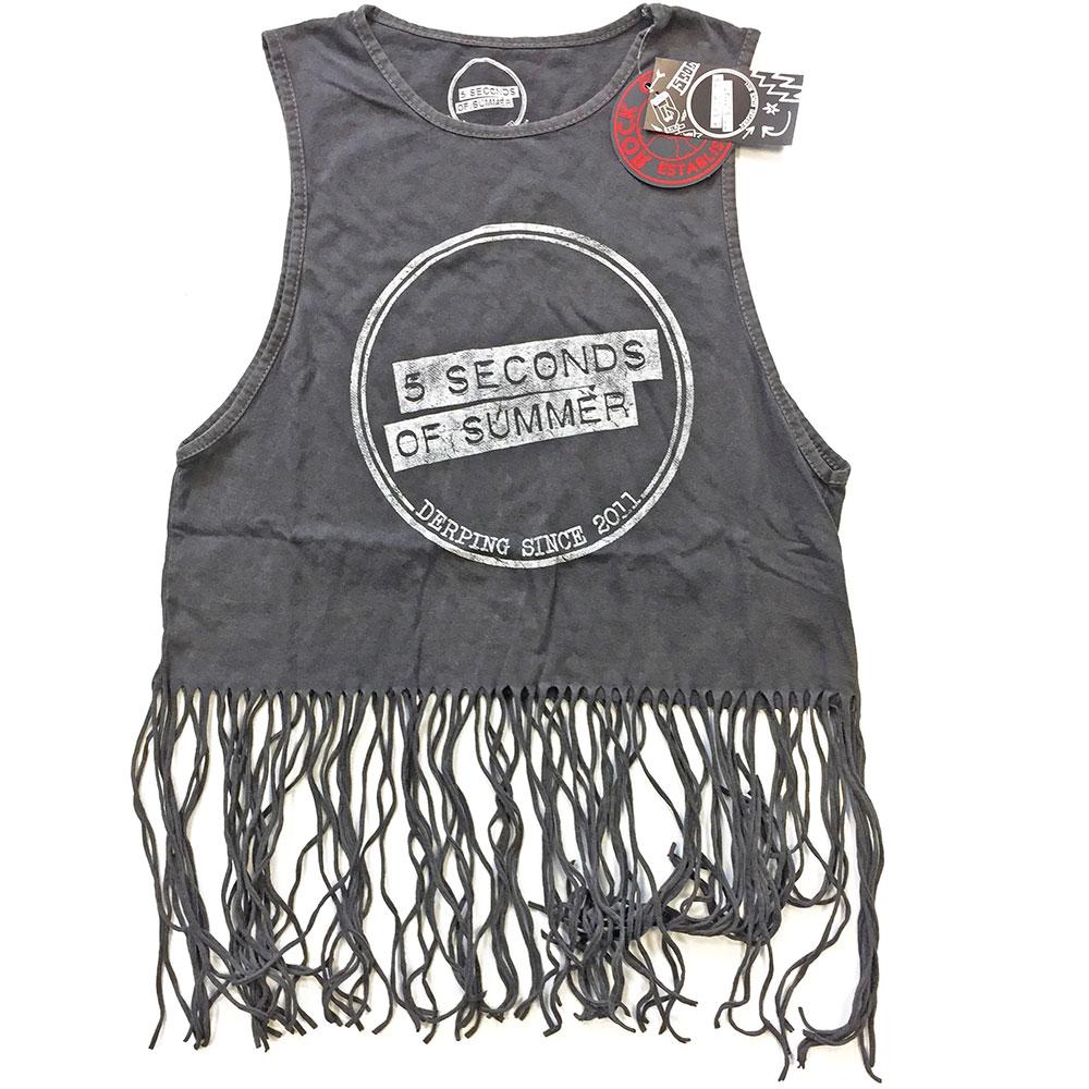 5 Seconds of Summer Ladies Tassel Vest: Derping Stamp Vintage - 5 Seconds of Summer - Merchandise - Bravado - 5055979986966 -